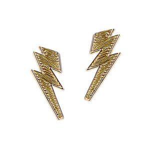 Tigerstars Glittering Gold Lightning Bolt Earrings